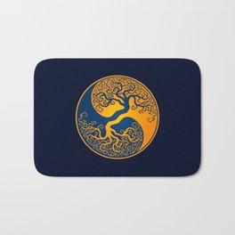 Blue and Yellow Tree of Life Yin Yang Bath Mat