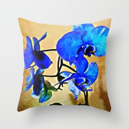 Painted Blue Orchid Throw Pillow