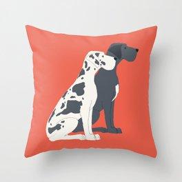 Great Dane Dog Illustration Throw Pillow