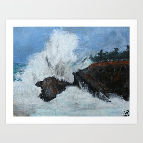 Oregon Waves Acrylic Painting Art Print