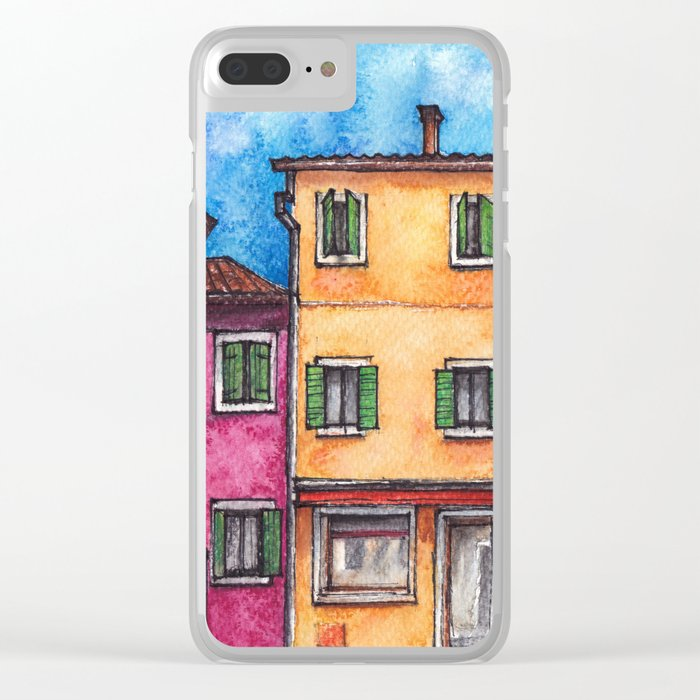 Burano ink & watercolor illustration Clear iPhone Case