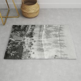 Tropical paradise in black and white | Las Terrenas Dominican Republic drone photography print Rug