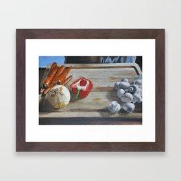 Still Life of Chopping Veggies Framed Art Print
