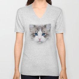 Pussy Cat Love Kitten Cute Blue eye Unisex V-Neck