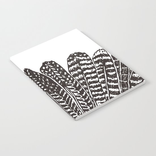 TRIBAL FEATHERS - BLACK Notebook