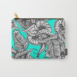 Boho black white hand drawn floral doodles pattern turquoise Carry-All Pouch