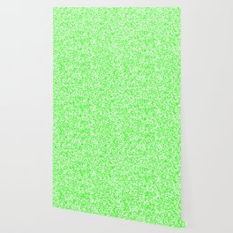 Tiny Spots - White and Neon Green Wallpaper