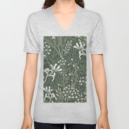 Woodland Floral and Plant Spring Growth on Forest Green Unisex V-Neck
