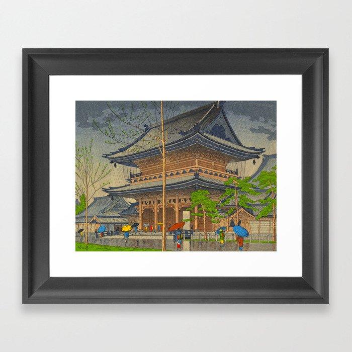 Rain in Higashi-Honganji Temple, Kyoto Asano Takeji Japanese Woodblock Print Gerahmter Kunstdruck