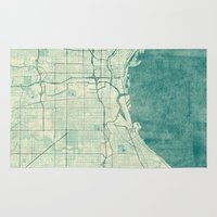 milwaukee Area & Throw Rugs featuring Milwaukee Map Blue Vintage by City Art Posters