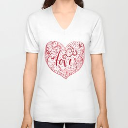 Heart Doodles of Love Unisex V-Neck