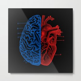 Heart and Brain Metal Print