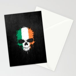 Flag of Ireland on a Chaotic Splatter Skull Stationery Cards