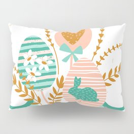 Happy Easter bouquet Gees bunnies and flowers Pillow Sham