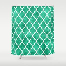Classic Quatrefoil Lattice Pattern 908 Mint Green Shower Curtain