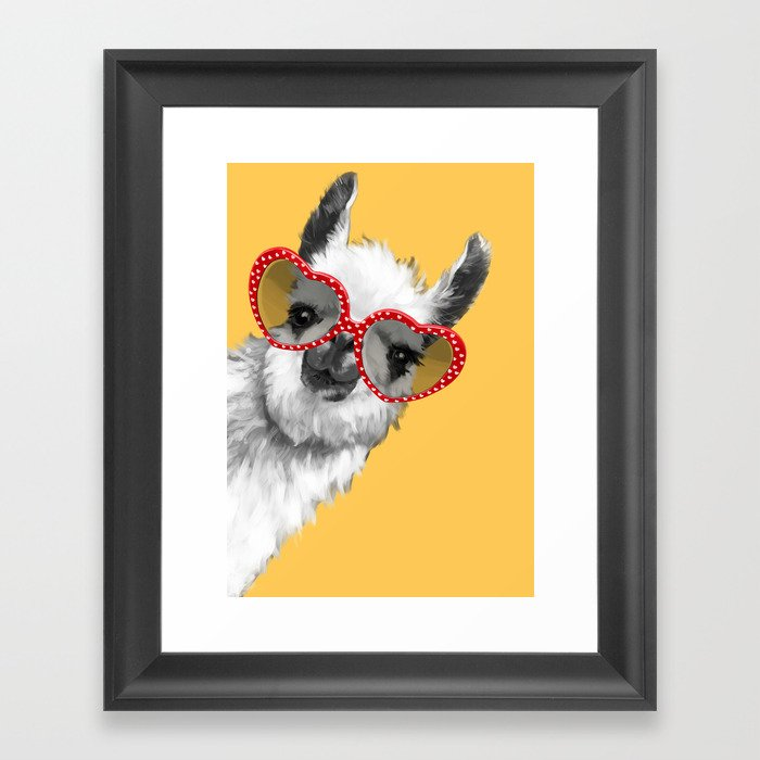 Fashion Hipster Llama with Glasses Gerahmter Kunstdruck