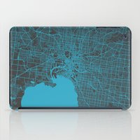 melbourne iPad Cases featuring Melbourne map by Map Map Maps
