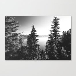 Mountain Lake Forest Black and White Nature Photography Canvas Print
