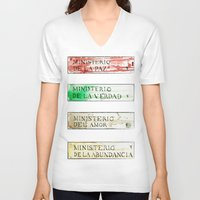 1984 V-neck T-shirts featuring Ministerios 1984 by Jorge Soriano