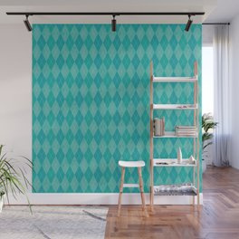 Textured Argyle in Turquoise Blues Wall Mural