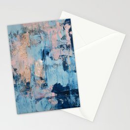 Sunbeam: a pretty abstract painting in pink, blue, and gold by Alyssa Hamilton Art Stationery Cards