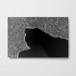 Cat silhouette on blue pearl Metal Print