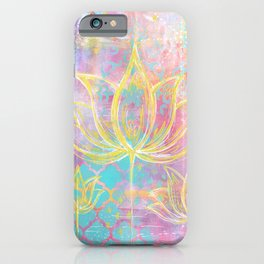 Layered Gold Lotus Painting iPhone Case