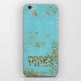Mermaid Vibes - Gold Glitter On Teal iPhone Skin