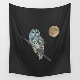 Owl, See the Moon (sq) Wall Tapestry