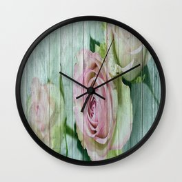 Shabby Chic Pink Roses On Blue Wood Wall Clock