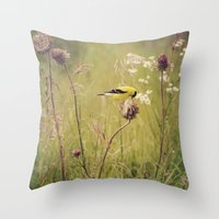 elmo Throw Pillows featuring Life in the Meadow by Kimberley Britt