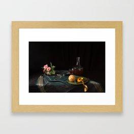 Orange and roses still life Framed Art Print