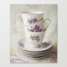 tea leaves tea loves loves tea lives tea leaves tea? never. Canvas Print