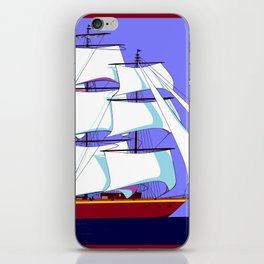 A Clipper Ship Full Sail in Still Waters iPhone Skin