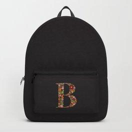 Retro Floral Letter B Backpack