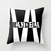 mandela Throw Pillows featuring Mandela tribute by Brian Raggatt