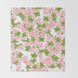 Modern hand painted pink watercolor flowers and green tropical leaf pattern Throw Blanket