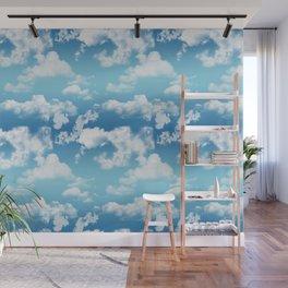 Cloudy Blue Sky Pattern Wall Mural