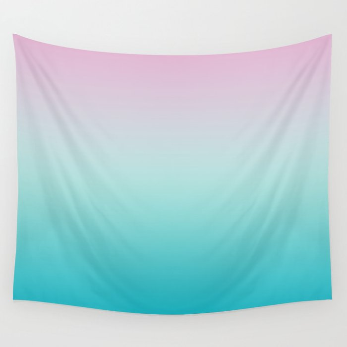 Pastel Ombre Pink Blue Teal Gradient Pattern Wall Tapestry