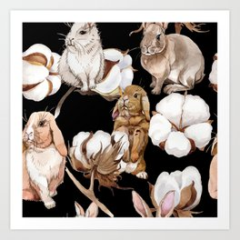 Cotton Flower & Rabbit Pattern on Black 01 Art Print