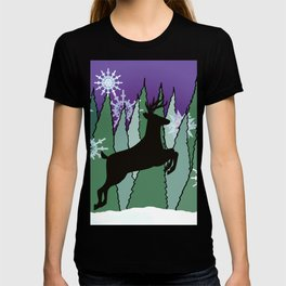 Winter Snowflakes and Leaping Deer T-shirt