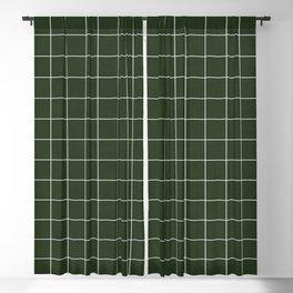 Small Grid Pattern - Deep Green Blackout Curtain