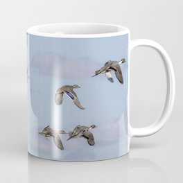 Mallards, Northern Pintails and a Green-winged Teal in Flight Coffee Mug