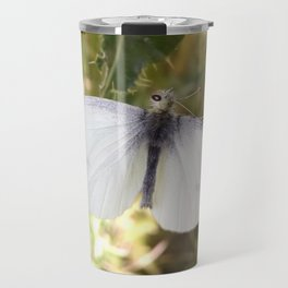 Cabbage White Butterfly on Thistle Leaf Travel Mug