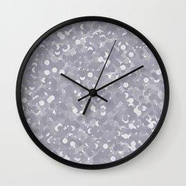 Lilac Gray Polka Dot Bubbles Wall Clock
