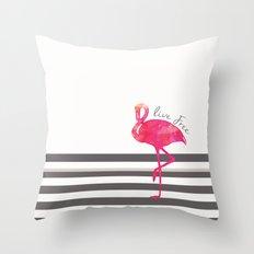 Live Free Flamingo  Throw Pillow