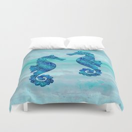 Blue Seahorse Couple Underwater Duvet Cover