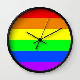 Rainbow Pride flag, Horizontal Stripes Wall Clock