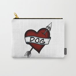 I Love Dog Vintage Heart Tattoo Carry-All Pouch