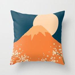 Japanese Mount Fuji Retro Pop Art Landscape Throw Pillow